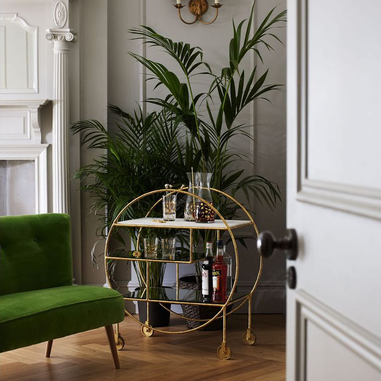 Luxe Round Bamboo Drinks Trolley, Oliver Bonas