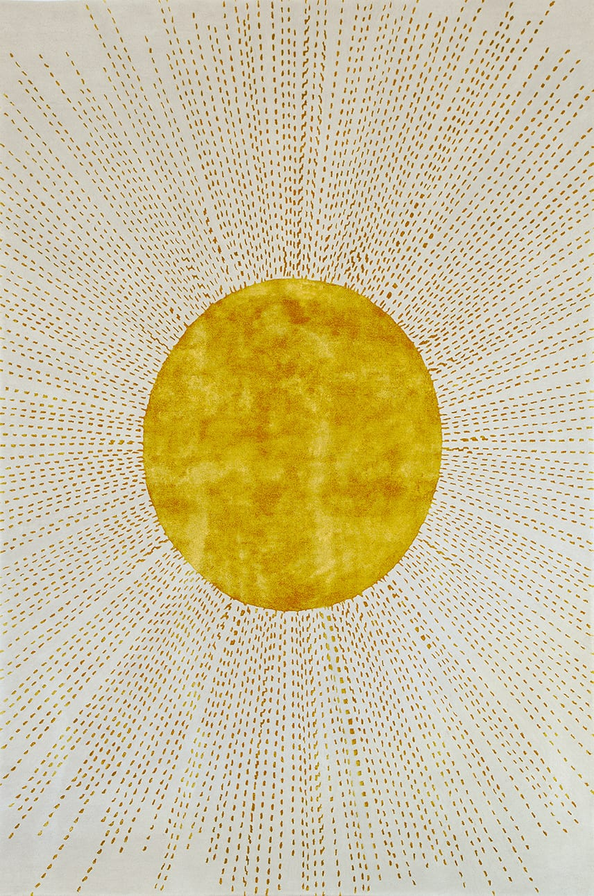 Sunburst is one of Wendy Morrison's interesting neutral rugs. Art Deco inspired rays of golden viscose sunshine burst out from a central golden sun in this neutral rug with a difference.