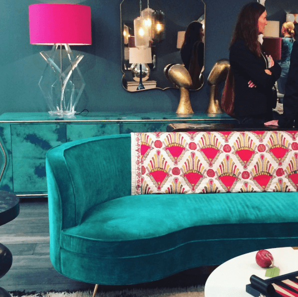 Teal sofa by Julian Chichester at Decorex.