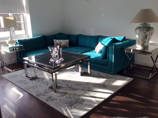 We Love Our Mandela Viscose Rug With This Teal Velvet Sofa