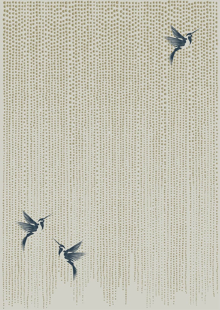 One of Wendy Morrison's interesting neutral rugs, Wisteria. A sophisticated neutral adorned with shimmering warm, gold droplets and three indian teal hummingbirds.