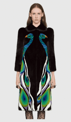 Peacock Intarsia Mink Fur Coat by Gucci