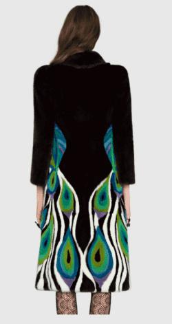 Peacock Intarsia Mink Fur Coat by Gucci