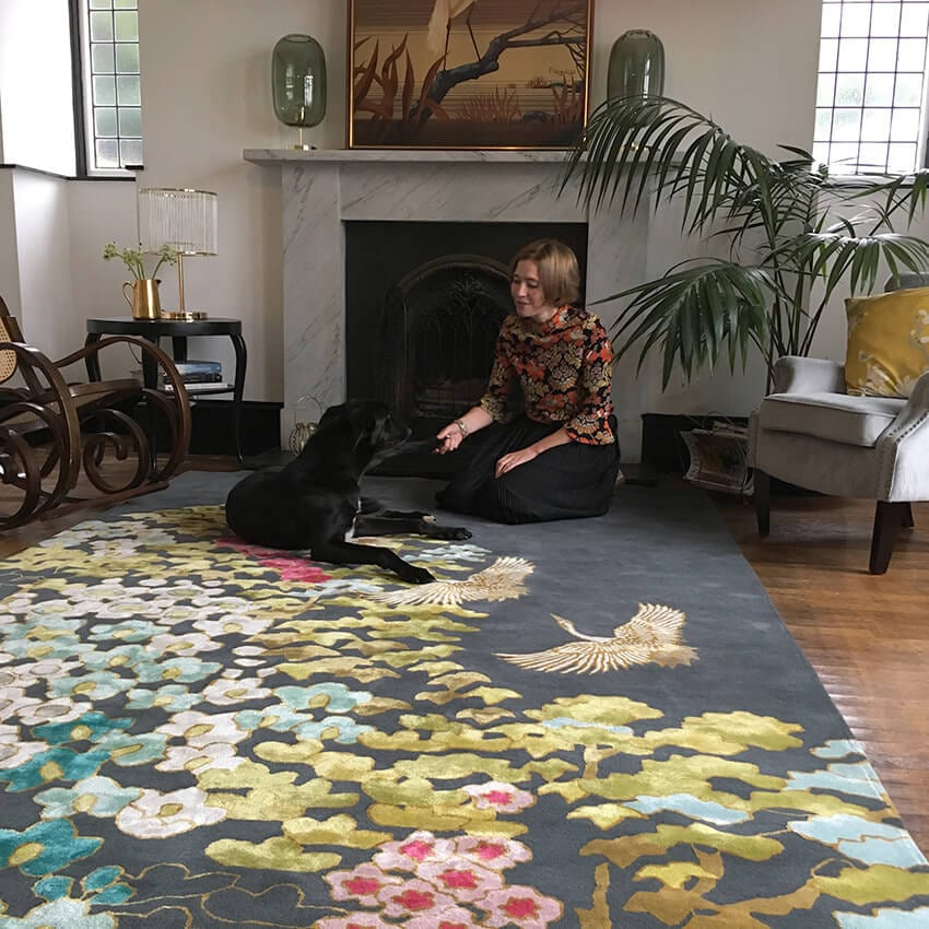 Wendy at Home with Eddie and the Mount Orient rug