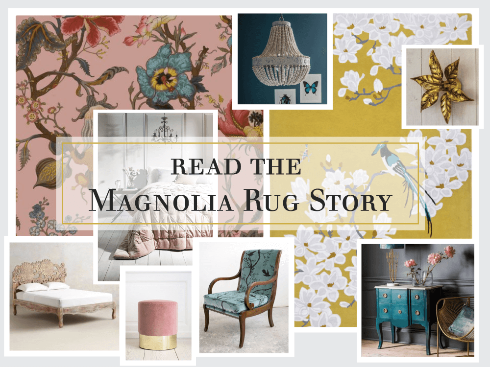 We have created a bedroom scheme around 'Magnolia', a honey based rug adorned with branches teeming with magnolia flowers in shimmering viscose. It is one of 5 stunning designs from Wendy's Orient Collection. Flora and fauna are the focus of this bedroom mood board with influence from the Orient in Magnolia. It's a dreamy, feminine scheme which is strong and celebrates the beauty, the magic and the power of nature.