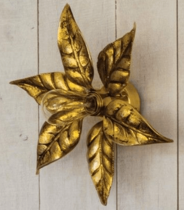 Flower Wall Sconce in Burnish Gold from Graham & Green