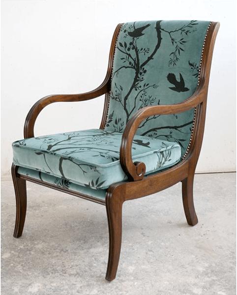 Birdbranch Stripe Sea Blue Chair by Timorous Beasties