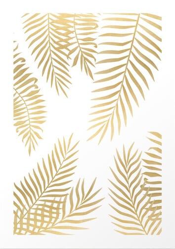 Gold Palm Leaves Art Print by Marta Olga Klara