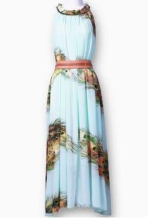 Light Green Sleeveless Feather Print Belt Dress