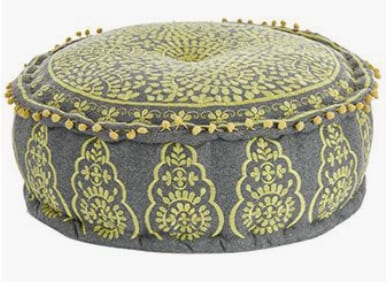 Grey and Yellow Embroidered Pouffe