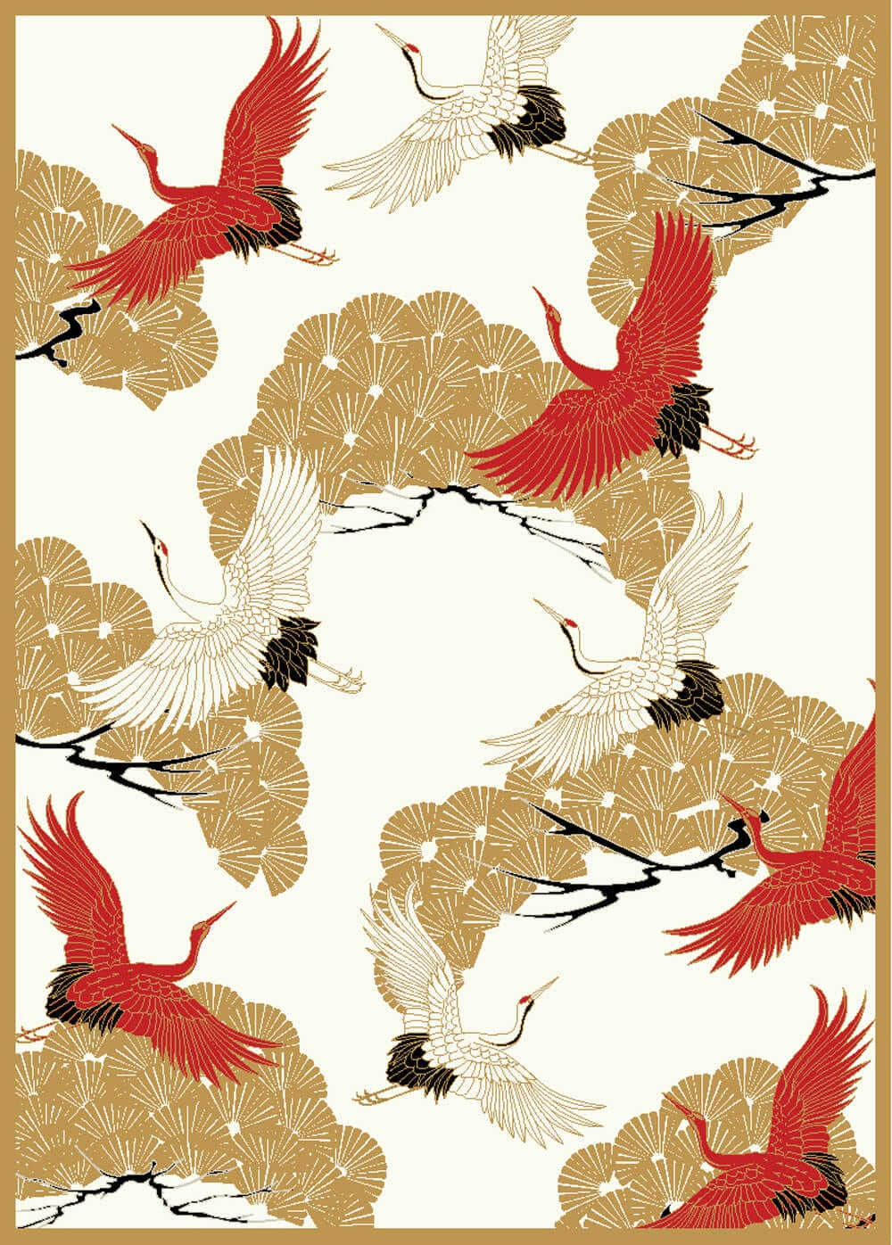 Cranes in trees is part of a new collection of chinoiserie rugs by Wendy Morrison.
