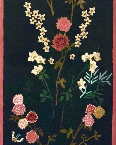Flowers of Virtue Runner with Sardinian Pink Border