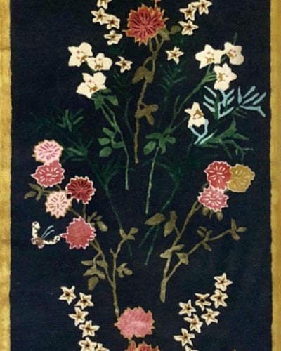 Flowers of Virtue hallway runner with tigers eye border