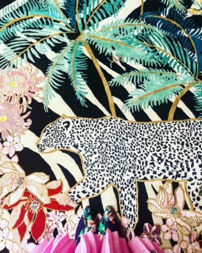 Zebra Leopard Palms hand-knotted rug