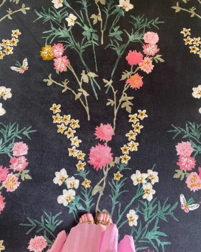 Flowers of Virtue chinoiserie rug by Wendy Morrison Design