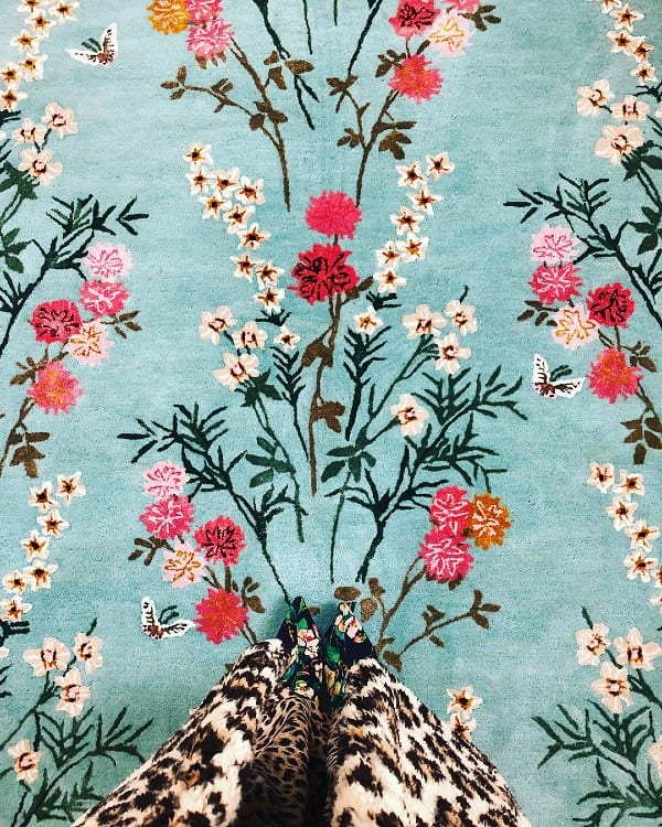 Flowers of Virtue Opal Blue oriental style rug