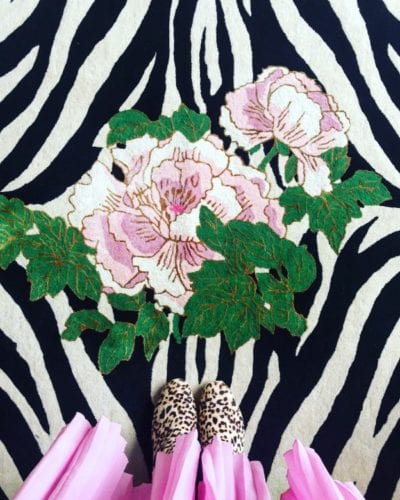 Zebra Florals zebra rug by Wendy Morrison Design