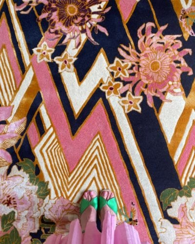 Herringbone Florals pink and gold designer rug
