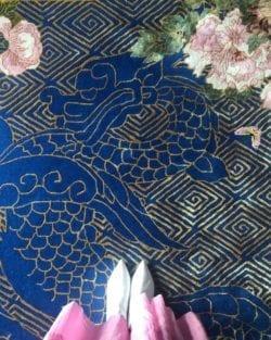 Dragon Florals blue rug by Wendy Morrison Design