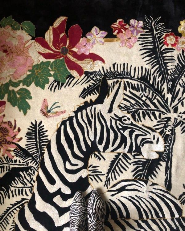 Zebra Waltz Black zebra rug by Wendy Morrison