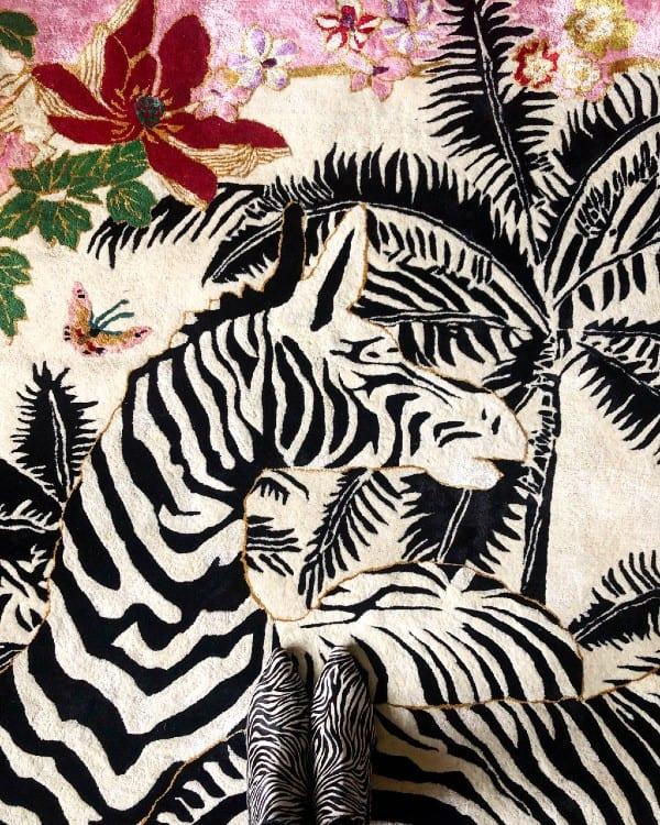 Zebra Waltz Pink designer rug by Wendy Morrison Design