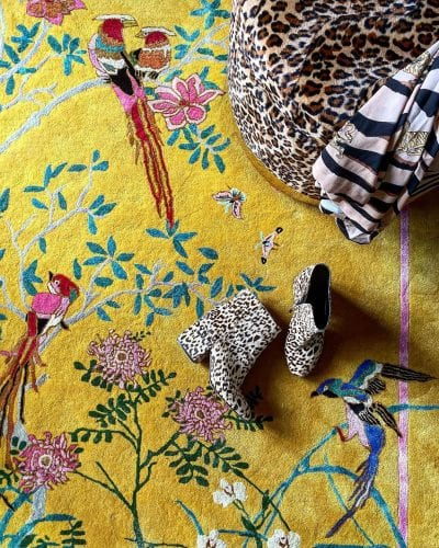 Birdsong yellow chinoiserie rug