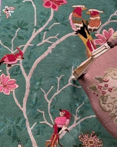 Birdsong Jade designer bird rug