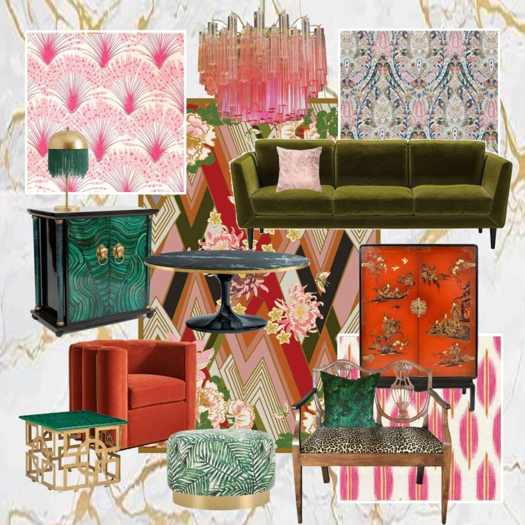 Shanghai Blossom designer rug mood board
