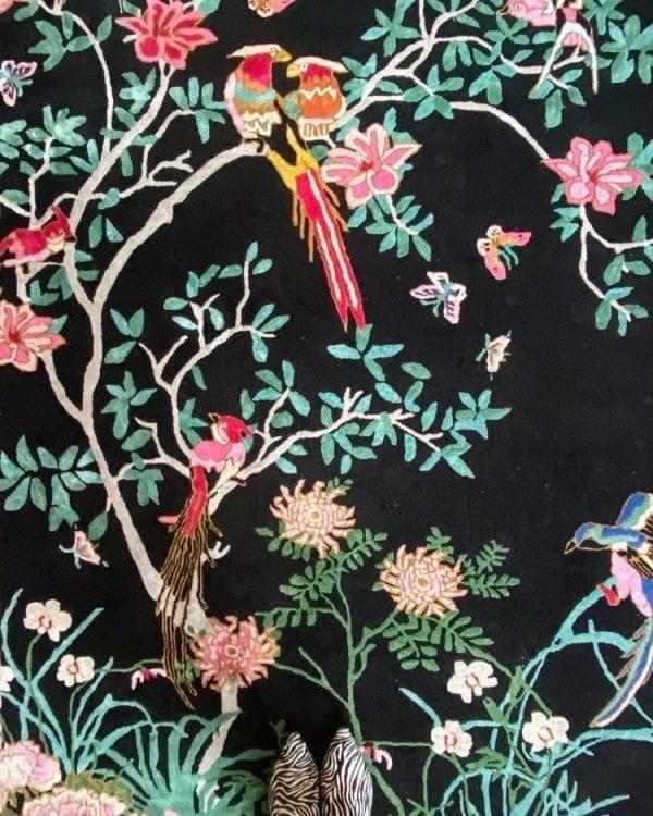 Birdsong black chinoiserie rug detail image