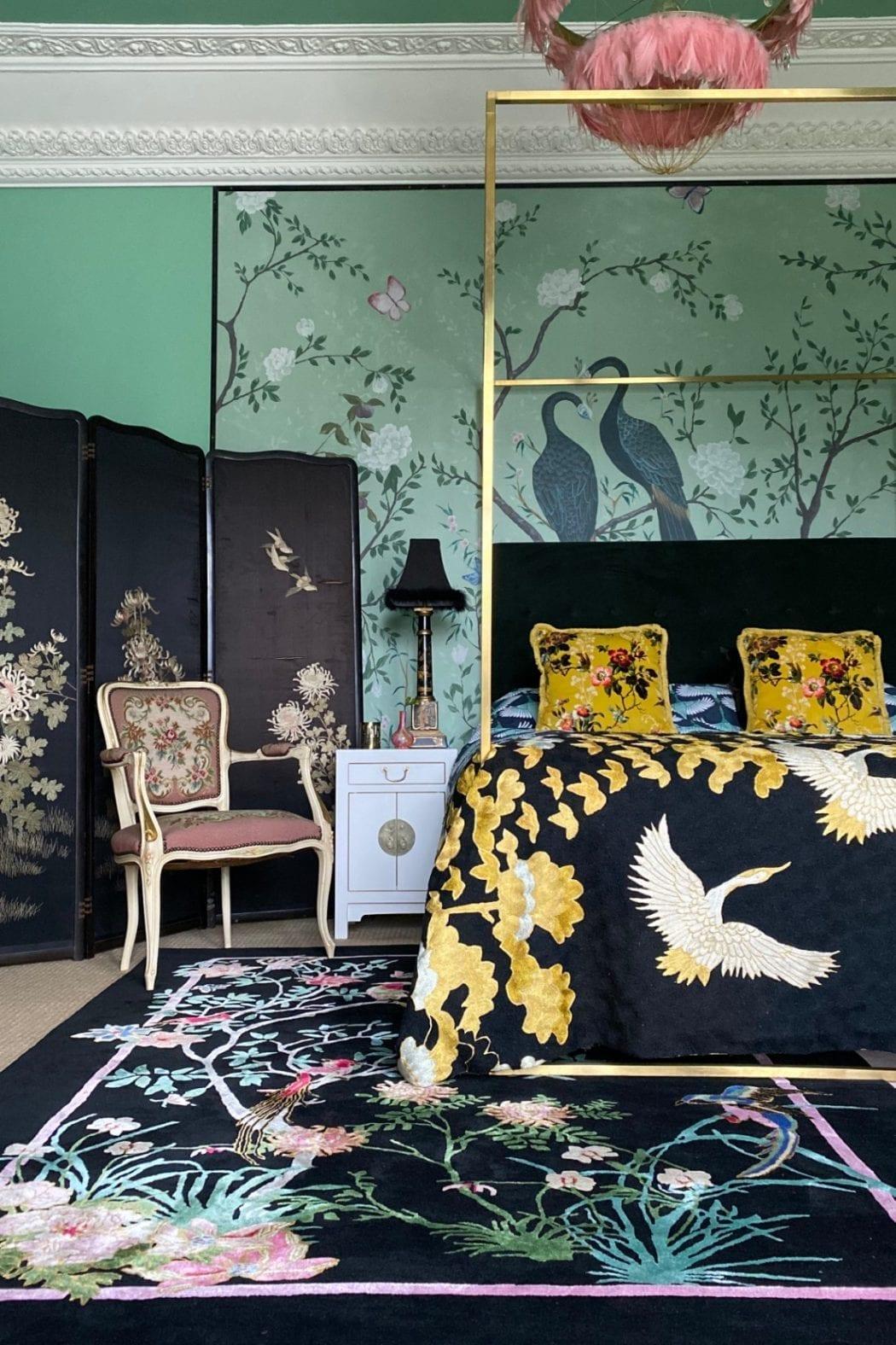 Birdsong Black Rug in Bedroom