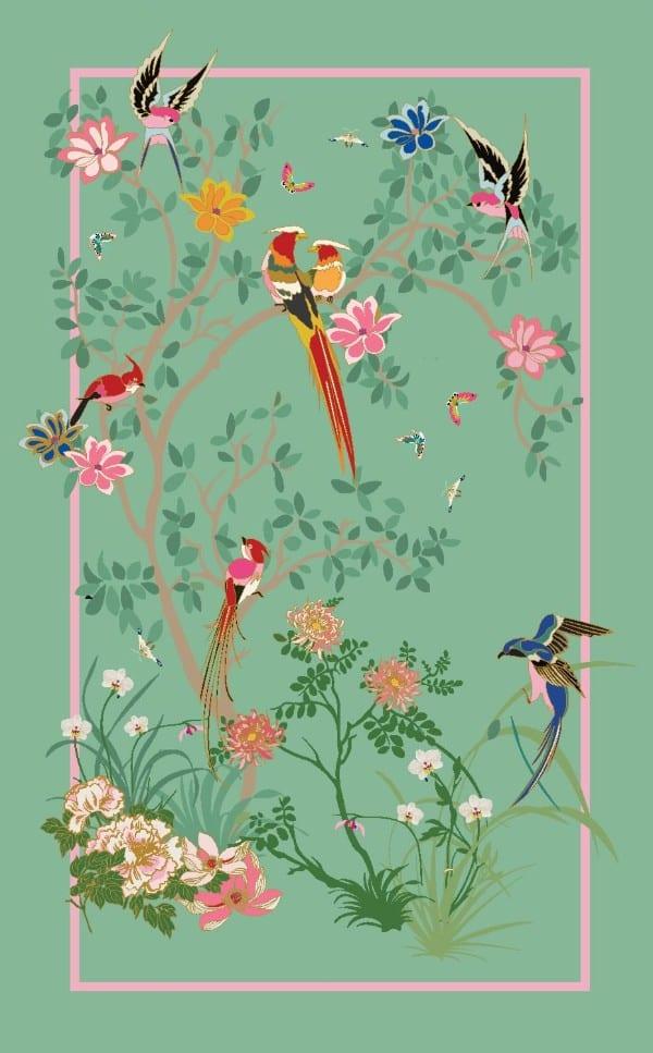 Birdsong Jade rug artwork
