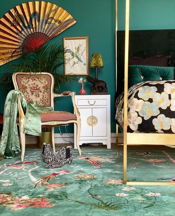 Birdsong jade green rug by Wendy Morrison Design