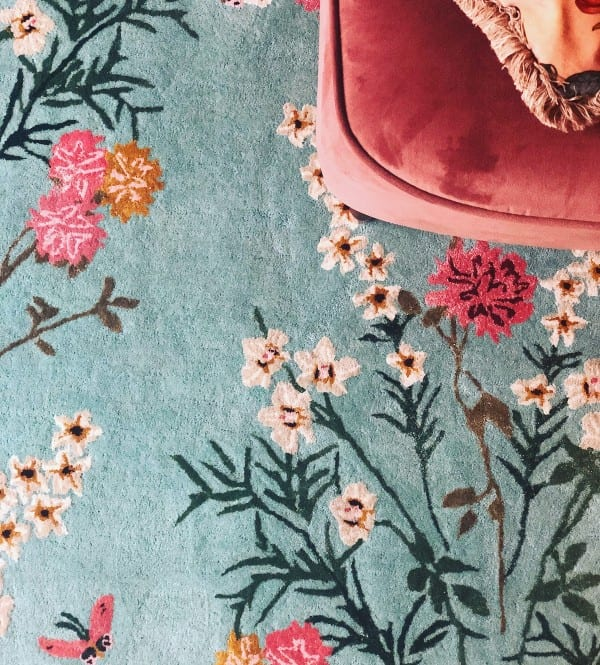 Flowers of Virtue Opal Blue rug by Wendy Morrison Design