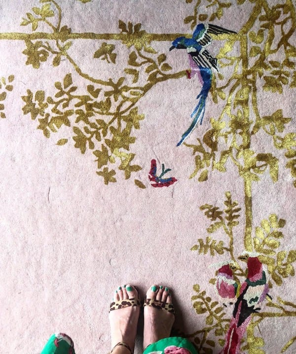 Jardin de Orient pink rug by Wendy Morrison Design