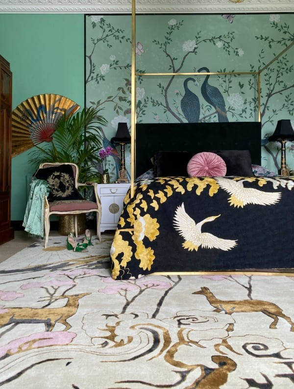 Longevity designer rug in bedroom