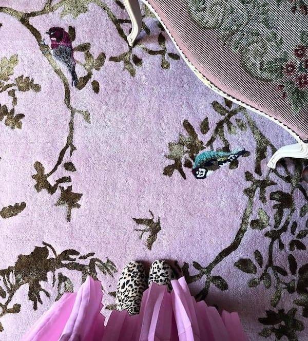 Secret Garden pink rug by Wendy Morrison Design