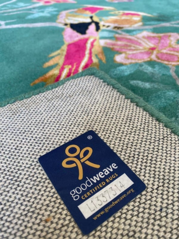 GoodWeave label on reverse of Wendy Morrison Design rug