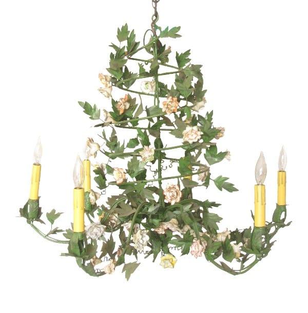 Ornate porcelain flower chandelier