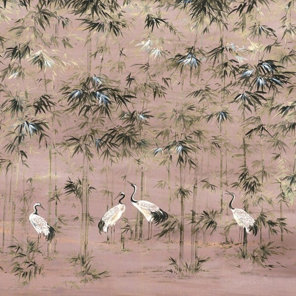 Pink chinoiserie mural wallpaper