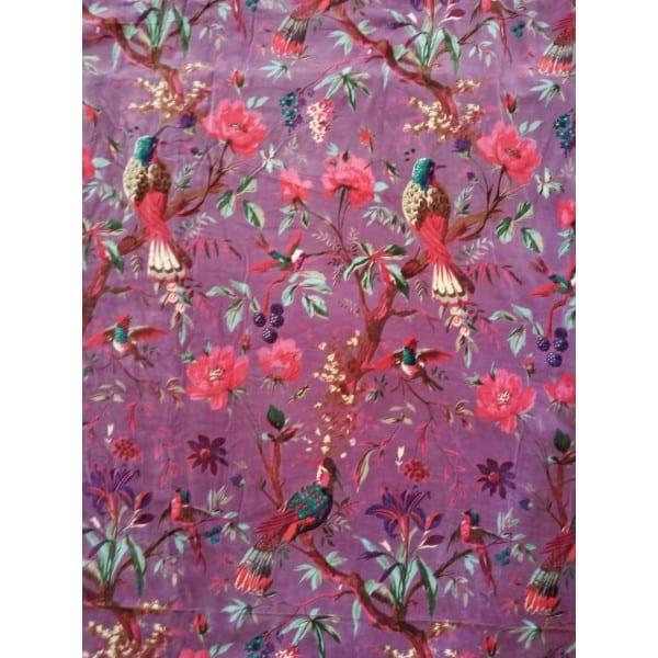 Purple chinoiserie cotton-velvet fabric