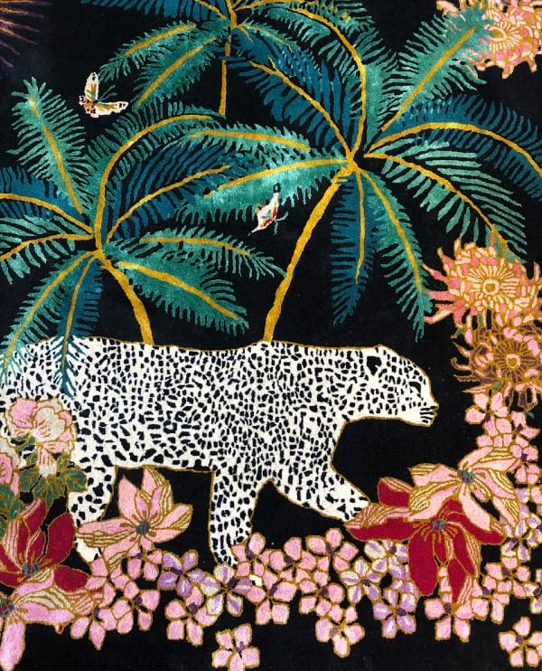 Leopard Palms Dark designer jungle rug