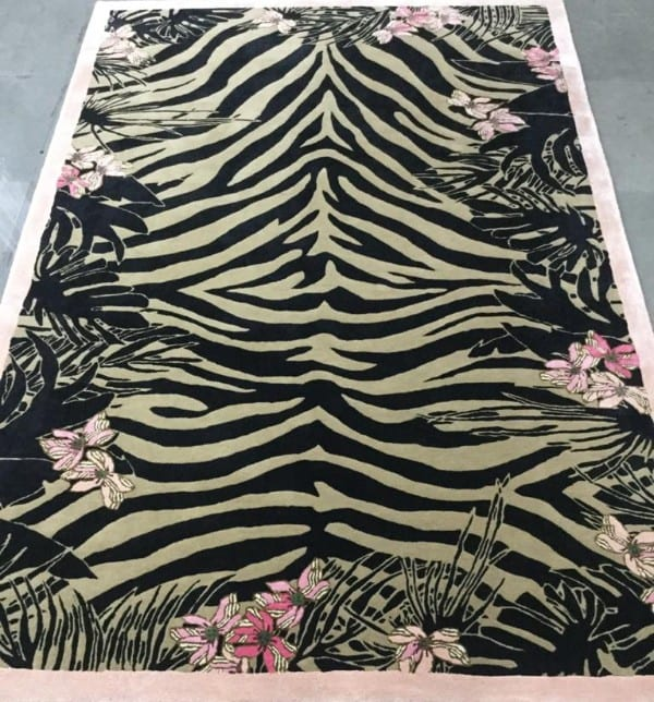 Tiger Florals designer animal rug