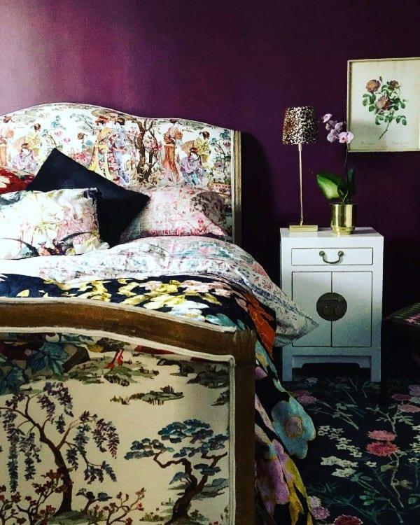 Flowers of Virtue runner alongside bed