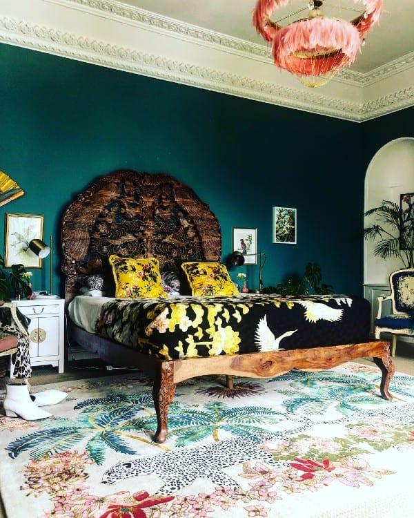 Leopard Palms Light leopard rug in maximalist bedroom