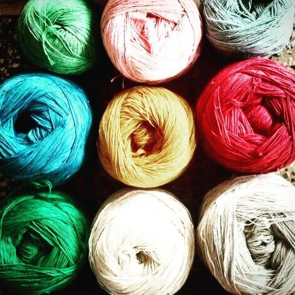 balled dyed yarn