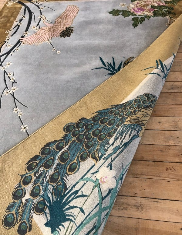 Underside of Chinese Garden of Virtue hand knotted rug