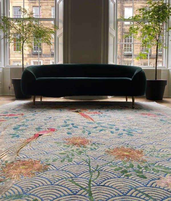 Floral Waves Blue luxury rug