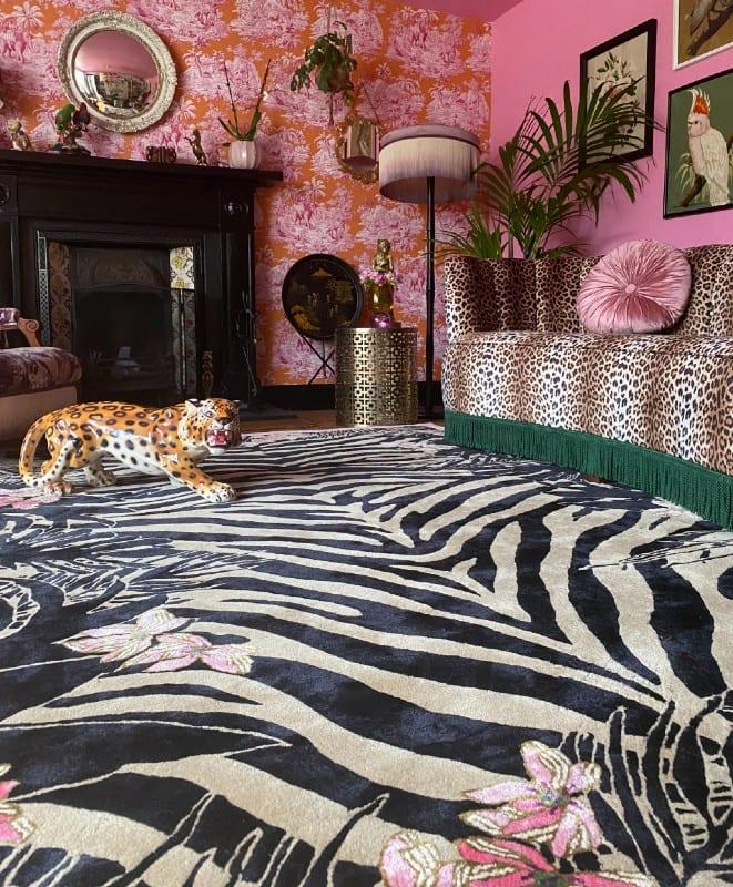Tiger Florals designer tiger rug