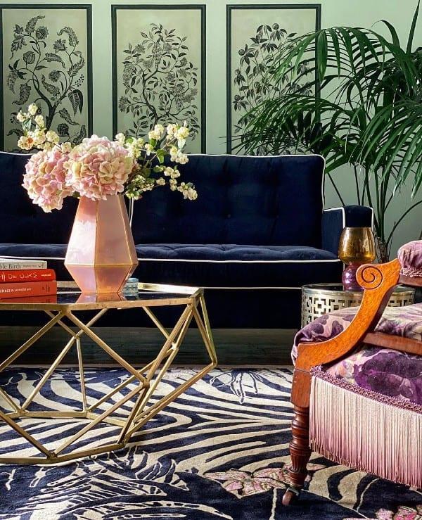 Tiger Florals designer exotic rug