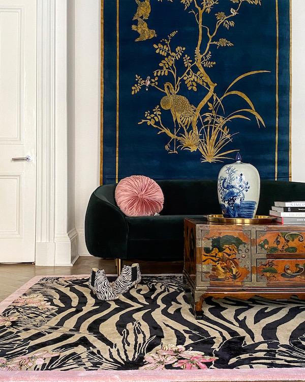 Tiger Florals Hand-Made Designer Rug